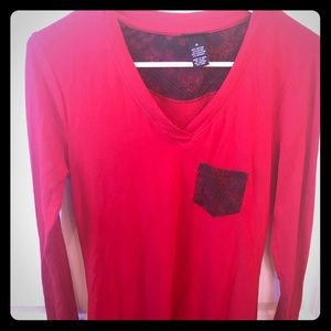 Long Sleeve Red T-Shirt Rue 21 Medium